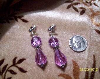 Lavender Swarovski Teardrop Crystal Bridal Earrings