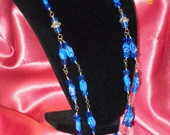 SALE-Royal Blue Czech Glass Double Strand Beaded Necklace/Matching Earrings