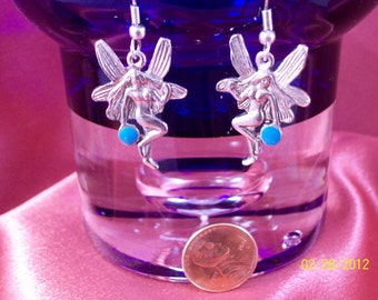 Vintage Winged Fairy Turquoise Blue Orb Earrings
