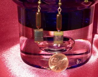 Picture Jasper Antiqued Brass Dangle Earrings