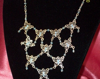 SALE-Vintage Adjustable Silver and Blue Butterfly Bib Necklace