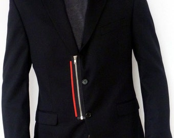 Zippered black men blazer with leather cuffs with collar accents.