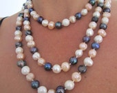 Extra Long Fresh Water Cultured Baroque Tri-Colored Pearl Necklace