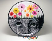 Mother Nature, decoupage glass plate, spring flowers, Mother's Day, daisies, garden, unique home decor
