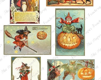 Vintage Halloween Postcards No.5 Digital Collage Sheet