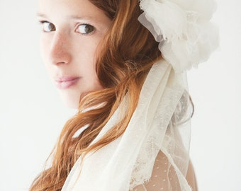 Wedding Veil, Bridal Veil, Swiss Dot Veil, Lace Mantilla Veil, Mantilla Veil, Corded Lace Veil, Ivory Veil, Dotted Veil - Lovely