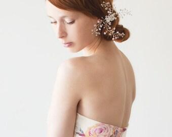 Bridal Hair pin, Wedding hair pin, Swarovski crystal, Crystal Bridal Hair pin, Nature Inspired Hair Pin, Wedding Accessory - Pure