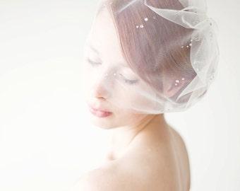 Bridal veil crystal blusher veil, Birdcage veil - Shining Stars