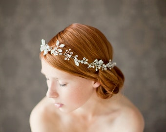 Wedding Headband, Bridal Headband, Bridal Hair Vine, Crystal Headband, Crystal Hair Vine, Pearl Headpiece, Crystal Headpiece - Breathless