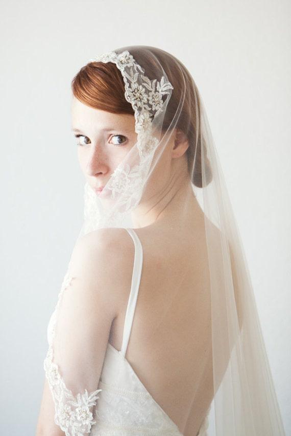 Lace Mantilla Bridal Veil, Chapel length Wedding Veil - Everlasting Love - Made to Order