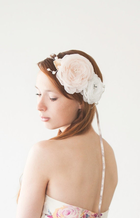 Wedding, Bridal Fascinator, Head Piece, Floral Hair Piece, Hair Flower, ivory - Innocence