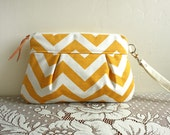 Pleated Chevron Wristlet/ Pouch/ Clutch// Nautical stripe // Yellow/ White Stripe --MADE TO ORDER--