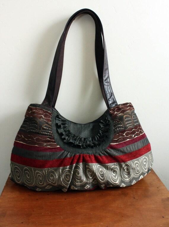 Denise Striped Purse// Handbag // Big, Roomy Purse // Diaper bag/ Weekender----Ready to Ship ---