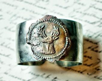 Antique Wax Seal Bracelet  - Deer Stag Medallion Bangle