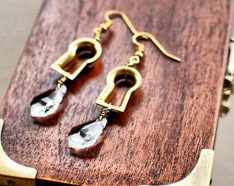 Gold Keyhole Earrings with Clear Swarovski Crystals - Steampunk Industrial Goth