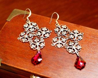 Gothic Earrings - Filigree Cross Earrings - Fuchsia Crystal Dangle Earrings - Elegant