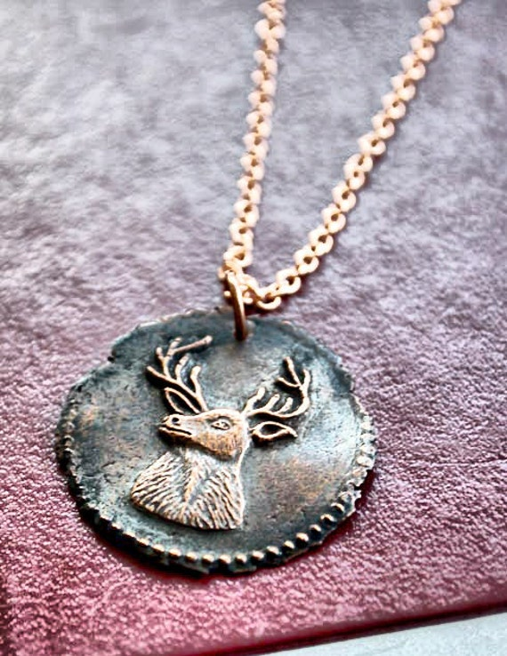 Copper Deer Necklace - Antique Wax Seal Necklace - Stag Medallion Charm