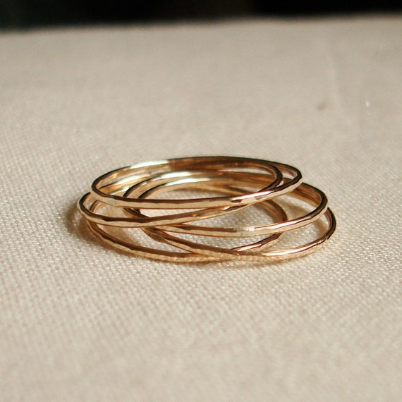 Five Golden Rings - Set of Five Threads of Gold - Tiny Hammered Stacking Rings - Delicate Jewelry