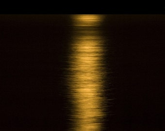 Moon Setting over the ocean. Fine Art Photography.
