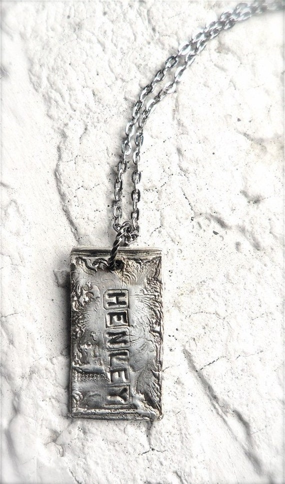 Rustic Custom Silver Name Tag (Single)