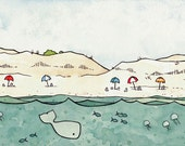 Beach Umbrellas and Whale Print 8x10