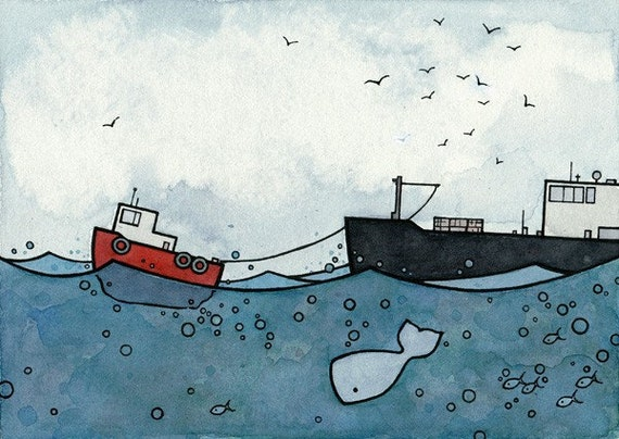 Whale and Tugboat Print from watercolor 5x7