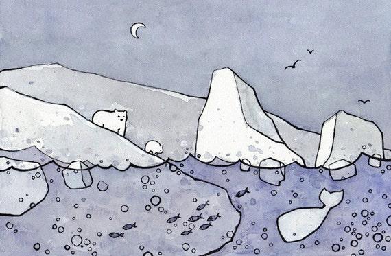 Polar Bears, Whale, and Icebergs Print 5x7
