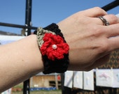 Bamboo Blossom Corsage Hand Knitted Bracelet/Cuff - Can be made to order in any colour