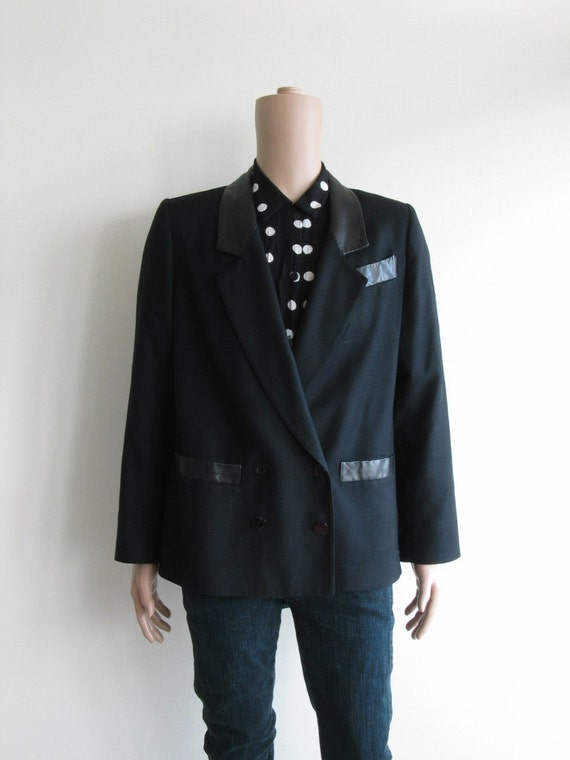 80s Black Blazer with Leather Collars and Trim, Johnny Cash Style