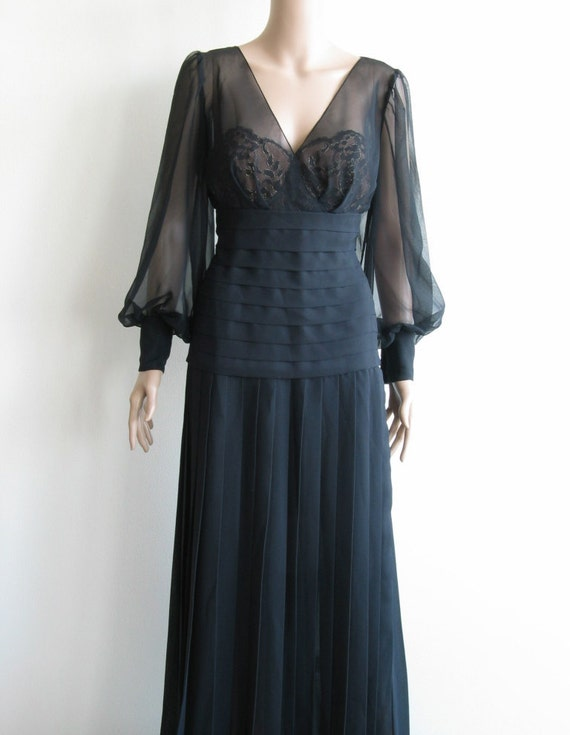 80s Black Lace Chiffon Evening Gown Sheer Old Hollywood Glam
