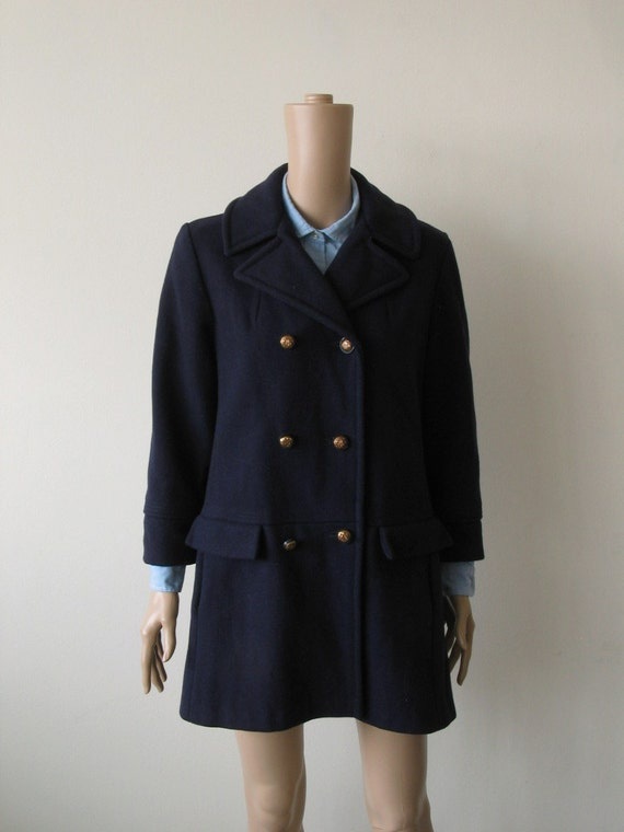 RESERVED --- Cute as a Pea...coat, Vintage 60s Navy Peacoat, Navy Blue Mod Coat