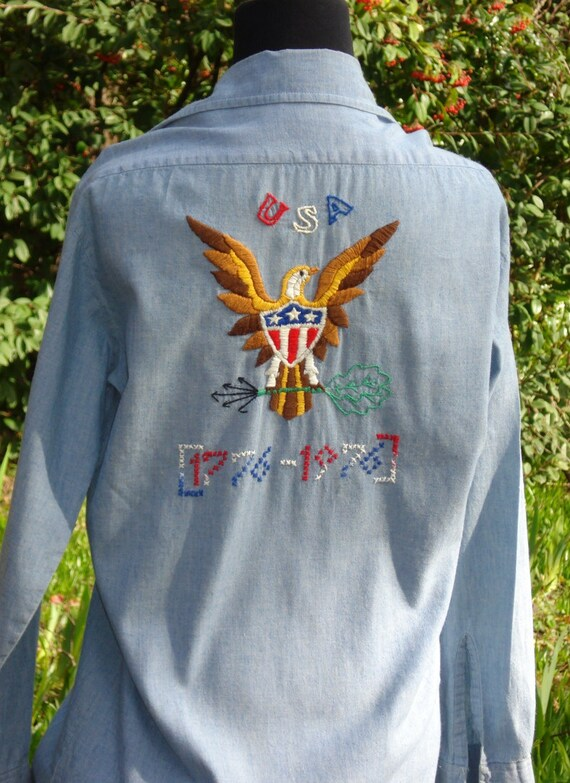 1976 Bicentennial Shirt, blue Chambray Small, hand embroidered, British Hong Kong