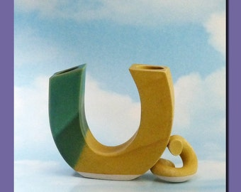 Vintage 60s  Kitsch Vase U TUBE  Quirky Porcelain Shape 60s Jade Green and Canary Yellow