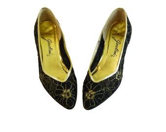 SALE Vintage 60s Italian Evening Pumps  Black and Gold  // Garolini Elegant Feminine Low Heel  Size 6 / 6 1/2 or 7N  Audrey Hepburn