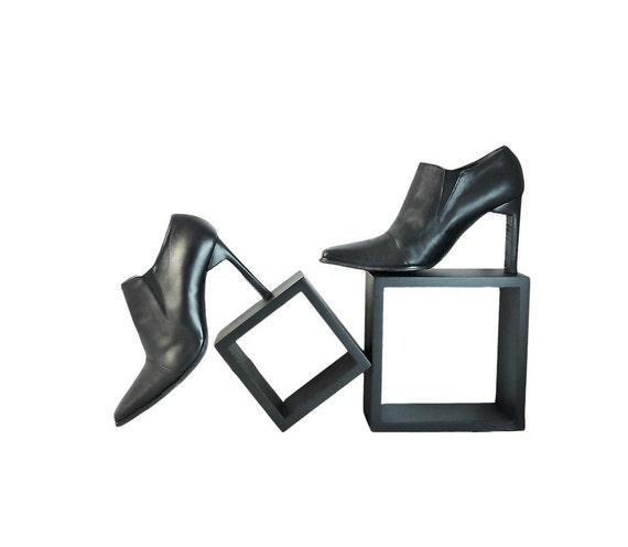RESERVED for Elizabeth   Italian Ankle Bootie Extreme 4 Inch Heels Slip On Elegance Black Leather  Size EU 37  US 7