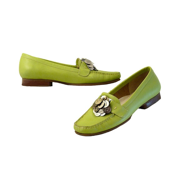 Lime Green Moccasin Penny Loafer Flats with Silver Coins Embellishment // Size 7 1/2 B // Geek Whimsy Fun and Comfort