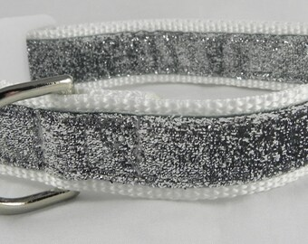Silver Metallic Sparkle Dog Collar