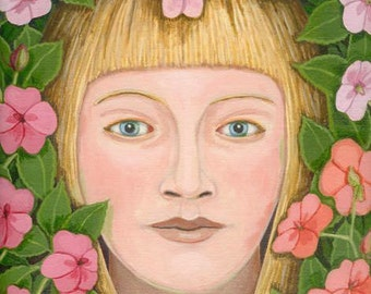 Empress of All the Impatiens ORIGINAL PAINTING pink flowers framed oil on linen 12x9 inches Beautiful Gift for Gardener - Free U.S. shipping