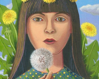 The Dandelion Queen ORIGINAL PAINTING oil 12x9 yellow flower weed herb garden spirit colorful Unique Gift for gardener- Free U.S. shipping