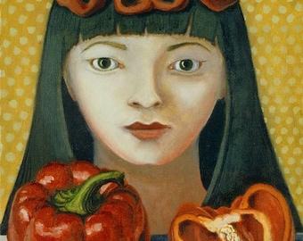 Belle Pepper ORIGINAL PAINTING framed oil on linen 12x9 vegetable spirit still life red beautiful bright bell veggie - Free U.S. shipping