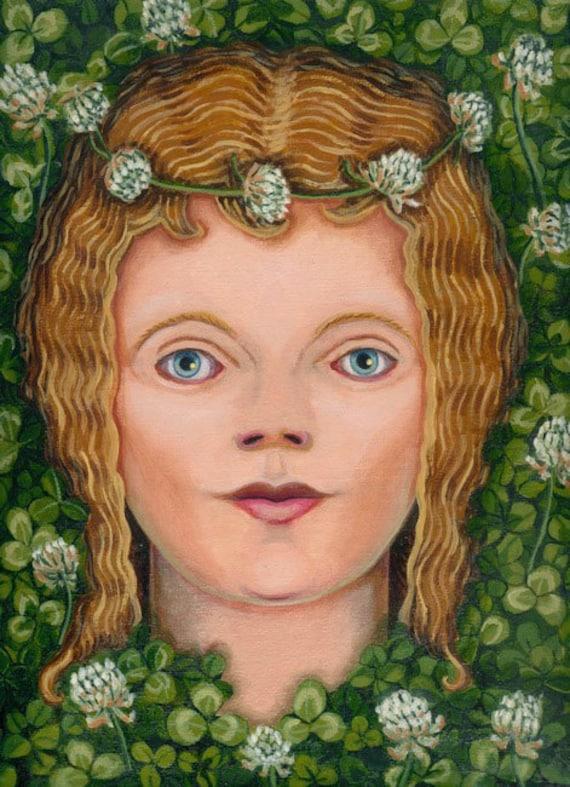 Girl in the White Clover ORIGINAL PAINTING oil on linen shamrock green Irish flower spirit trifolium repens Lovely Gift - Free USA shipping