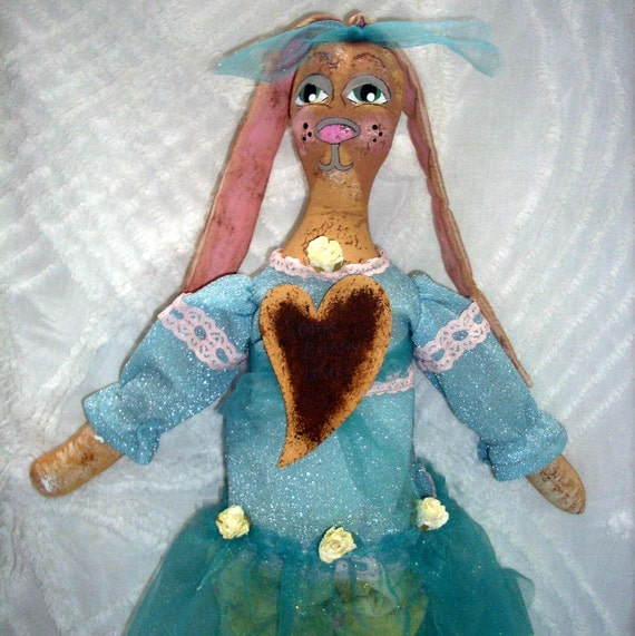 Bunny Rabbit Art Doll Handmade Fantasy Turquoise Girls Bedroom Decor Vintage Doll Clothes