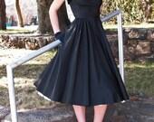1947 Vintage Dress- RK Original Black Taffeta and Velvet Swing/Party/Cocktail/Formal Dress w/matching Bolero Jacket