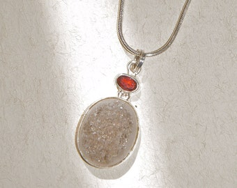 Garnet and Pyrite Druzy Necklace