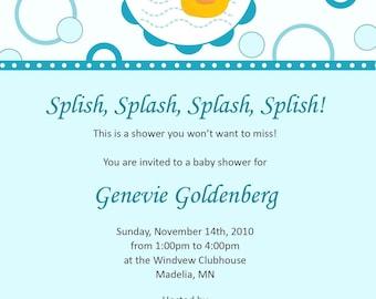 Splish Splash Rubber Ducky Baby Shower Invitation