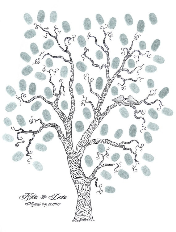 WEDDING TREE GUEST Book Customizable Original Drawing Thumbprint Tree 16 x 20 Whimsical up to 125 guests