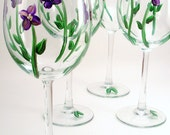 Hand painted wine glasses, purple violet, painted violets, floral painted glassware - set of 4