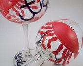 Crabs and anchors - Nautical hand painted wine glasses - set of 2