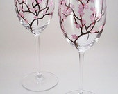 Cherry blossom wine glasses light pink - set of 2