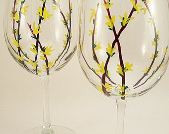 Forsythia branches and flowers - hand painted wine glasses - forsythia wine glasses - set of 2 -